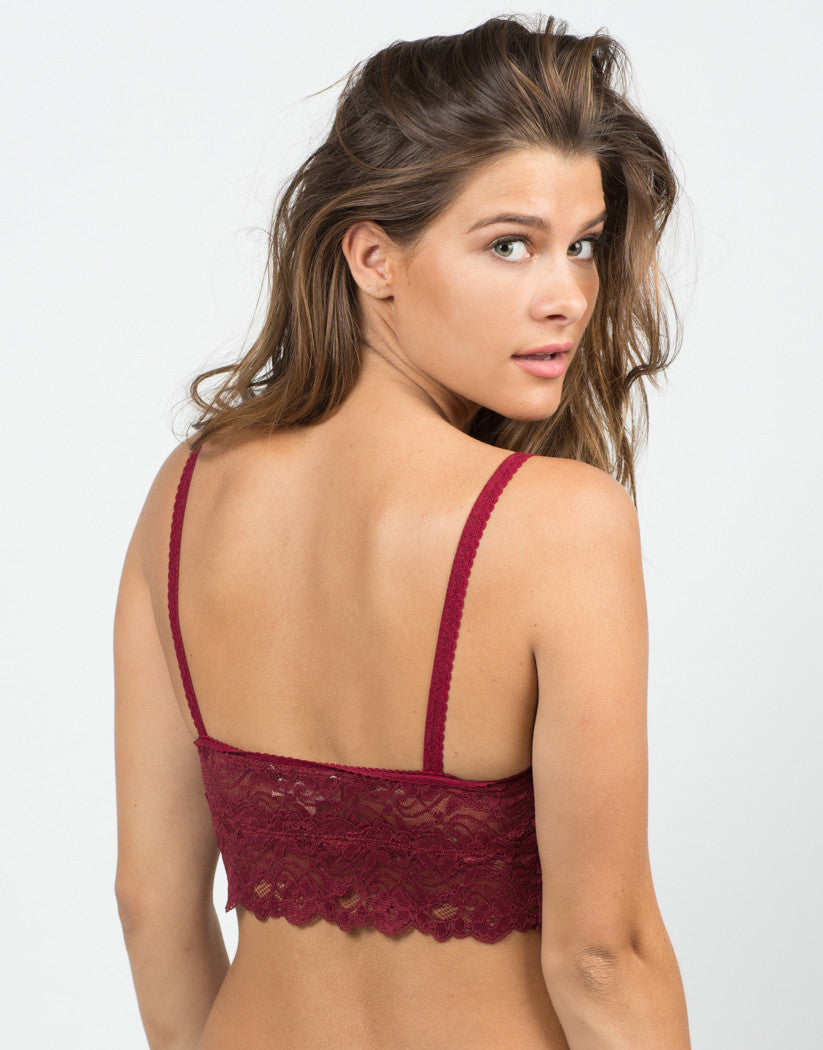 Back View of Lacey Floral Bralette