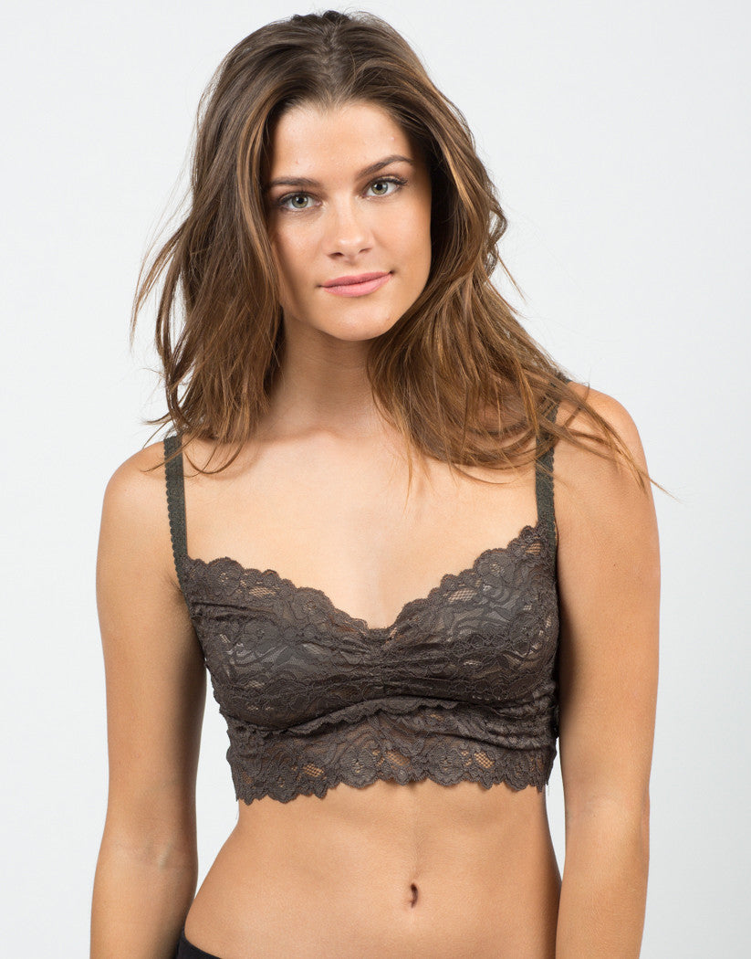 Front View of Lacey Floral Bralette