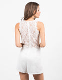 Back View of Lacey Floral Chiffon Romper