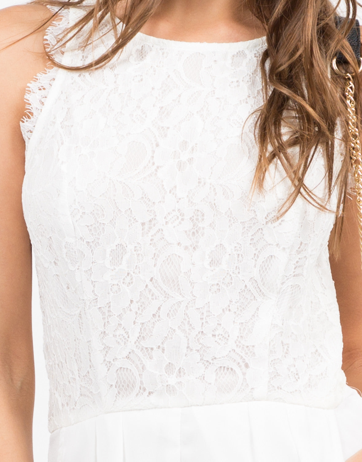 Detail of Lacey Floral Chiffon Romper