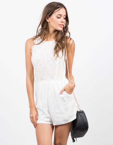 Front View of Lacey Floral Chiffon Romper