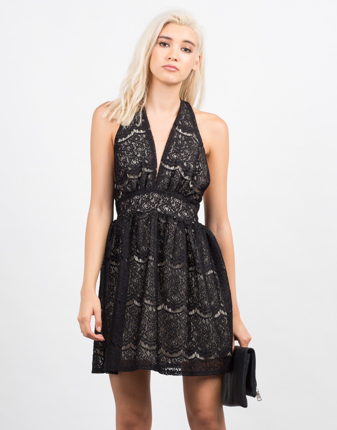 Front View of Lacey Halter Party Dress