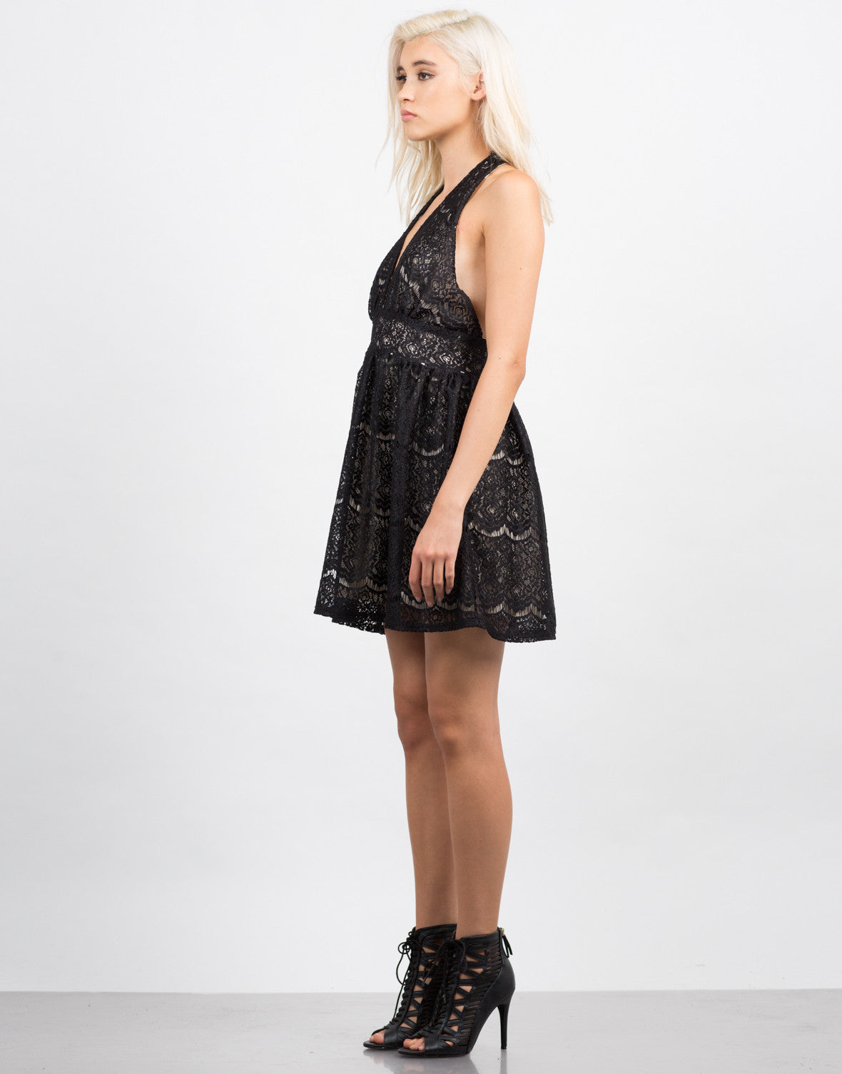 Side View of Lacey Halter Party Dress