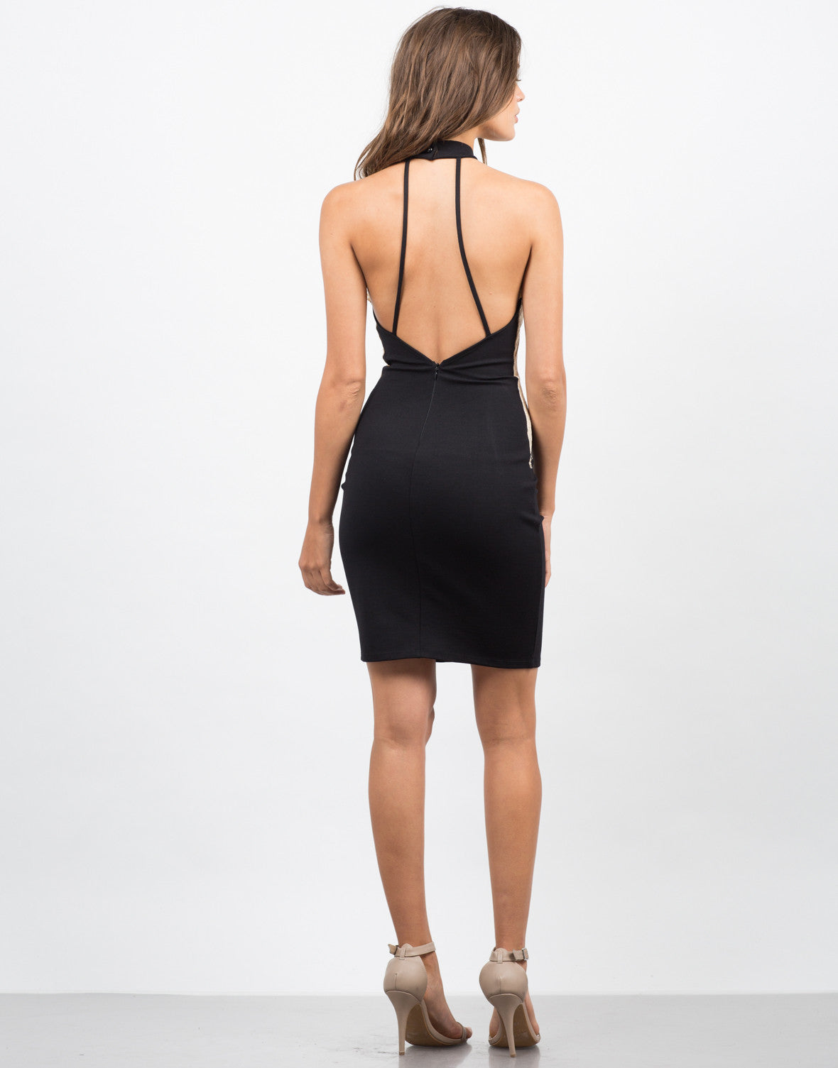 Back View of Lacey High Neck Party Dress