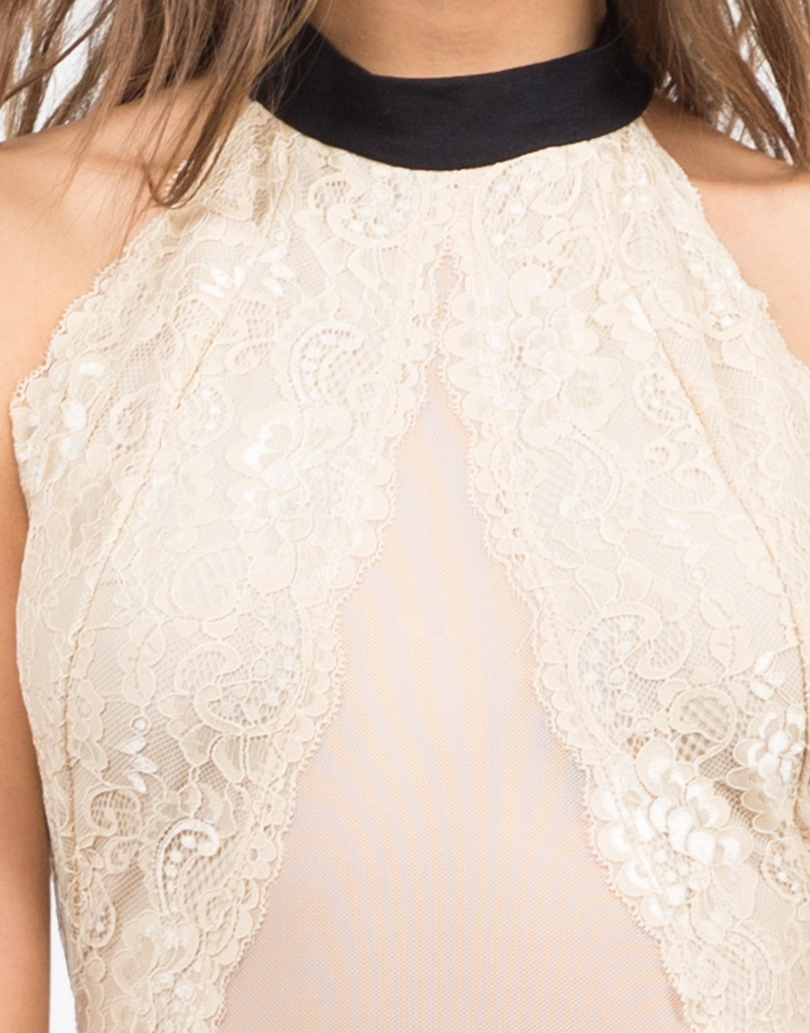 Detail of Lacey High Neck Party Dress
