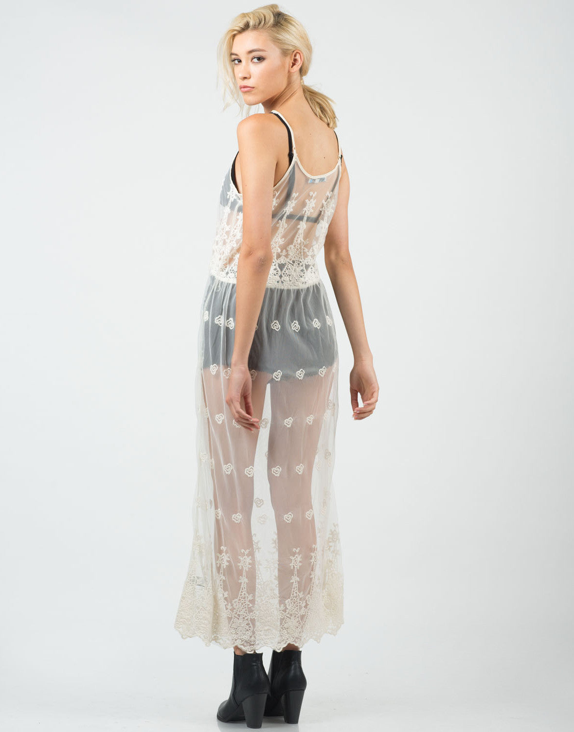 Back View of Lacey Mesh Overlay Dress