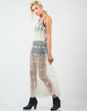 Side View of Lacey Mesh Overlay Dress