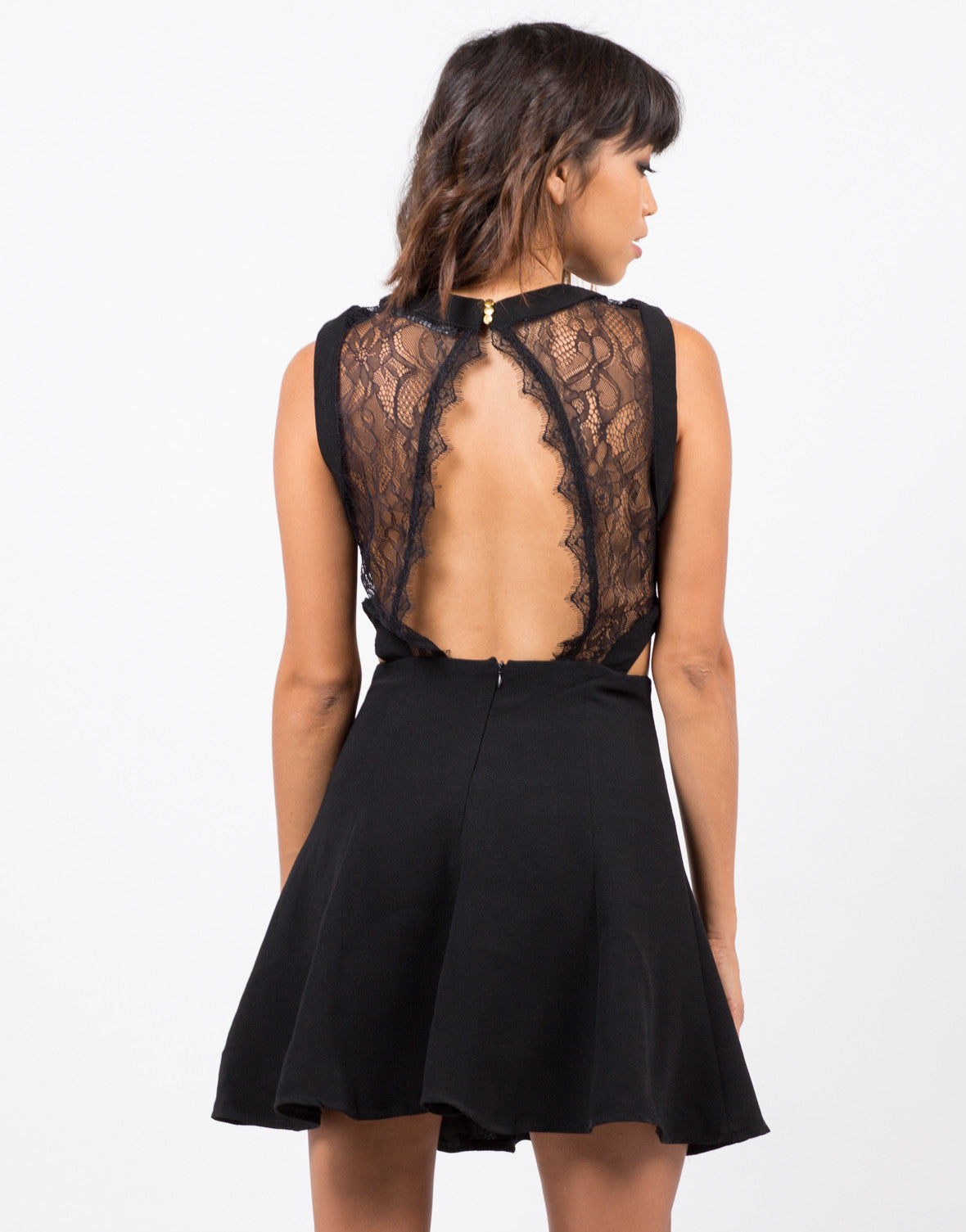 Back View of Lacey Open Back Dress