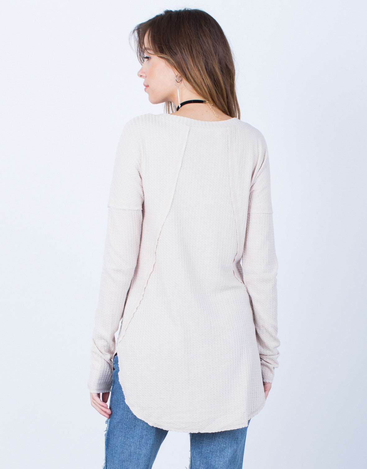 Back View of Laid-Back Sweater Top