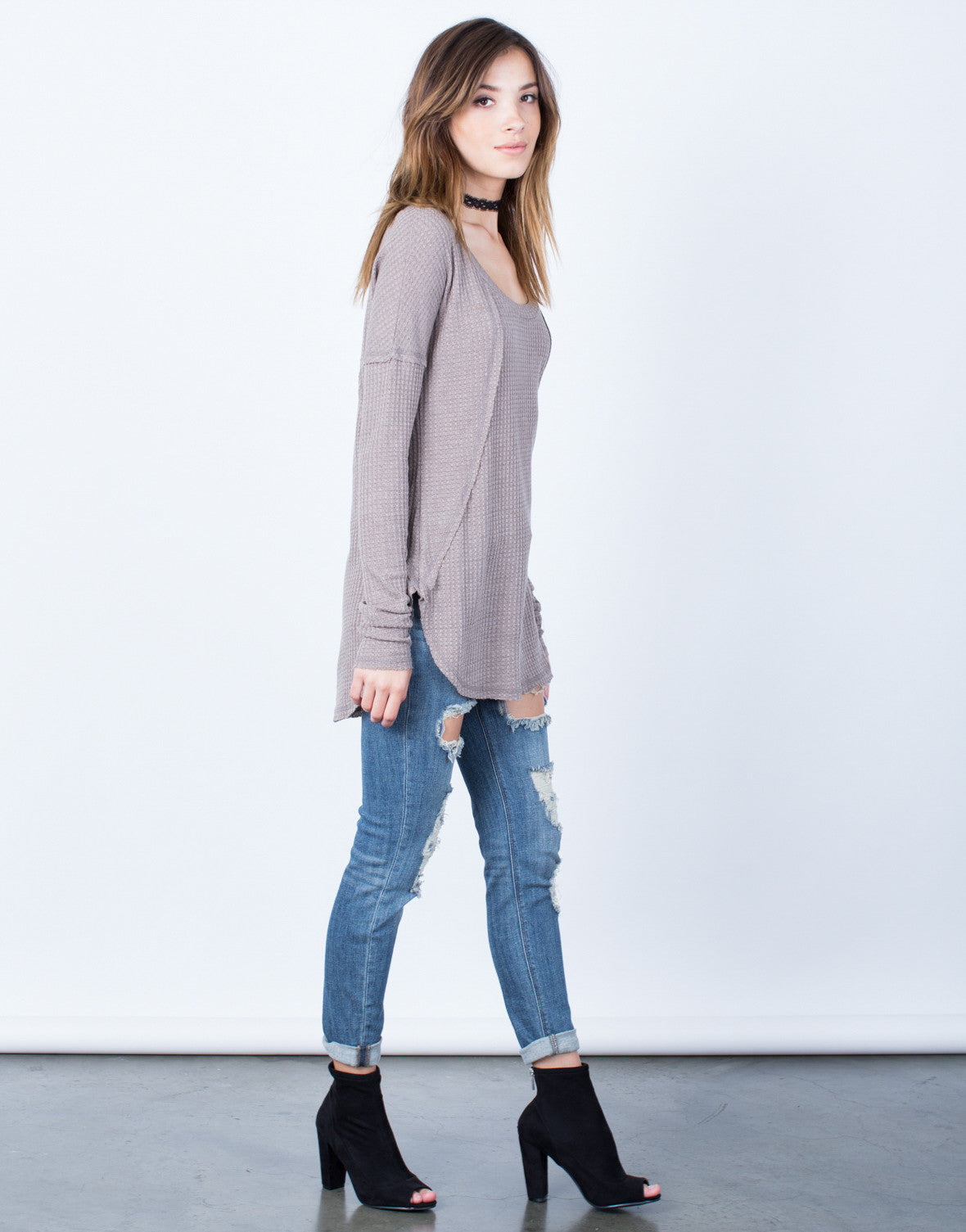 Side View of Laid-Back Sweater Top