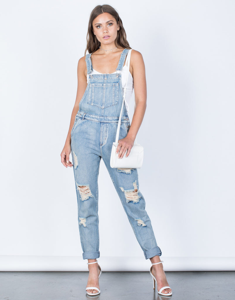 Laidback Distressed Overalls - 2020AVE