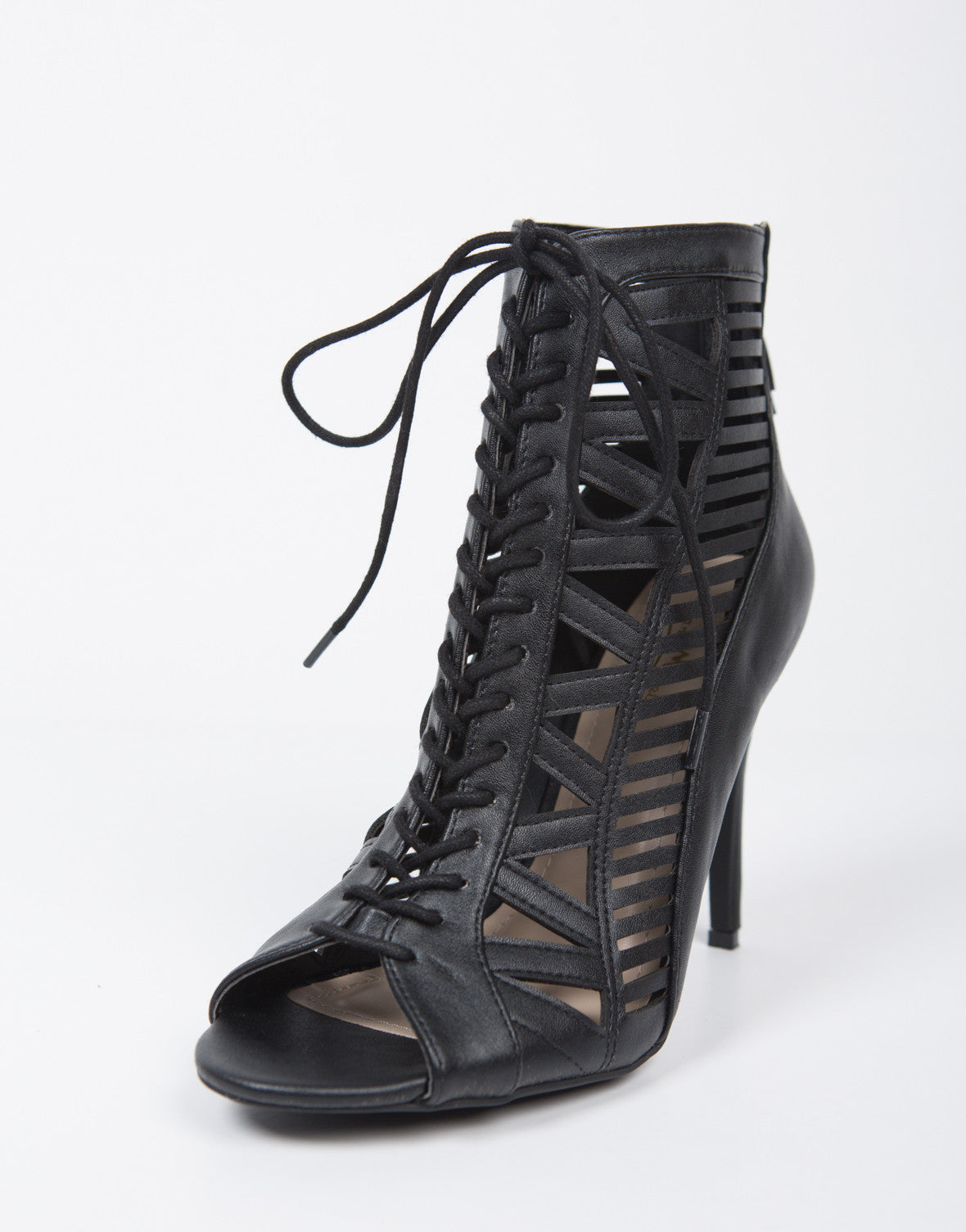 Black Laser Cut Lace Up Heels