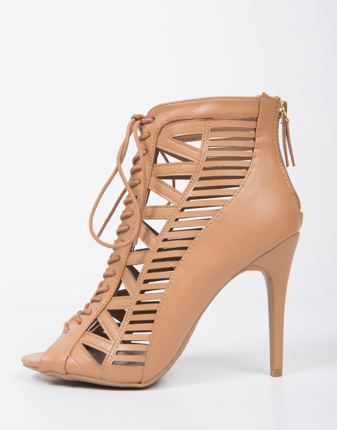 Natural Laser Cut Lace Up Heels