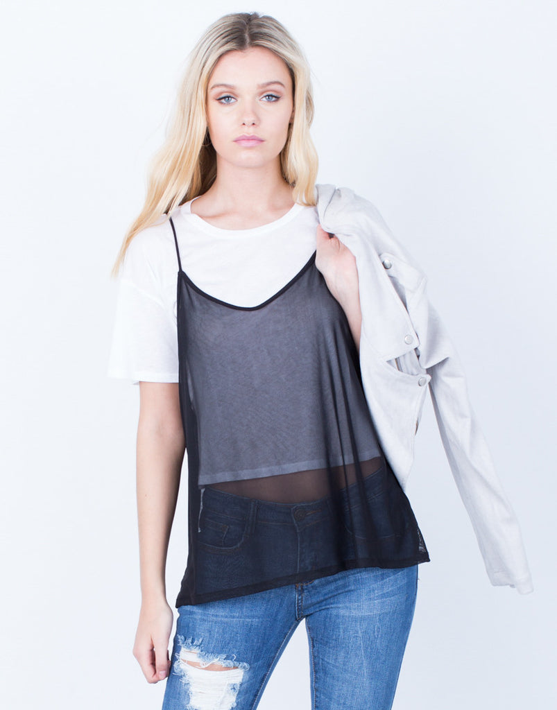 Front View of Layer of Mesh Tee