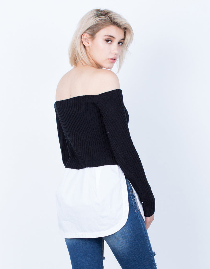 Back View of Layered Off-the-Shoulder Sweater Top