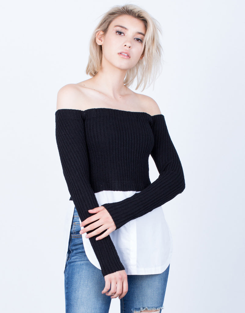 Layered Off-the-Shoulder Sweater Top - 2020AVE