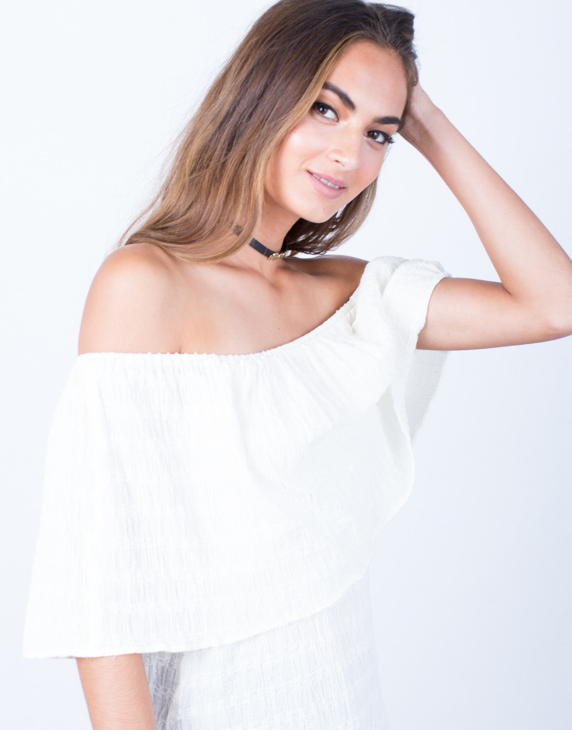 Detail of Layered Off-the-Shoulder Top