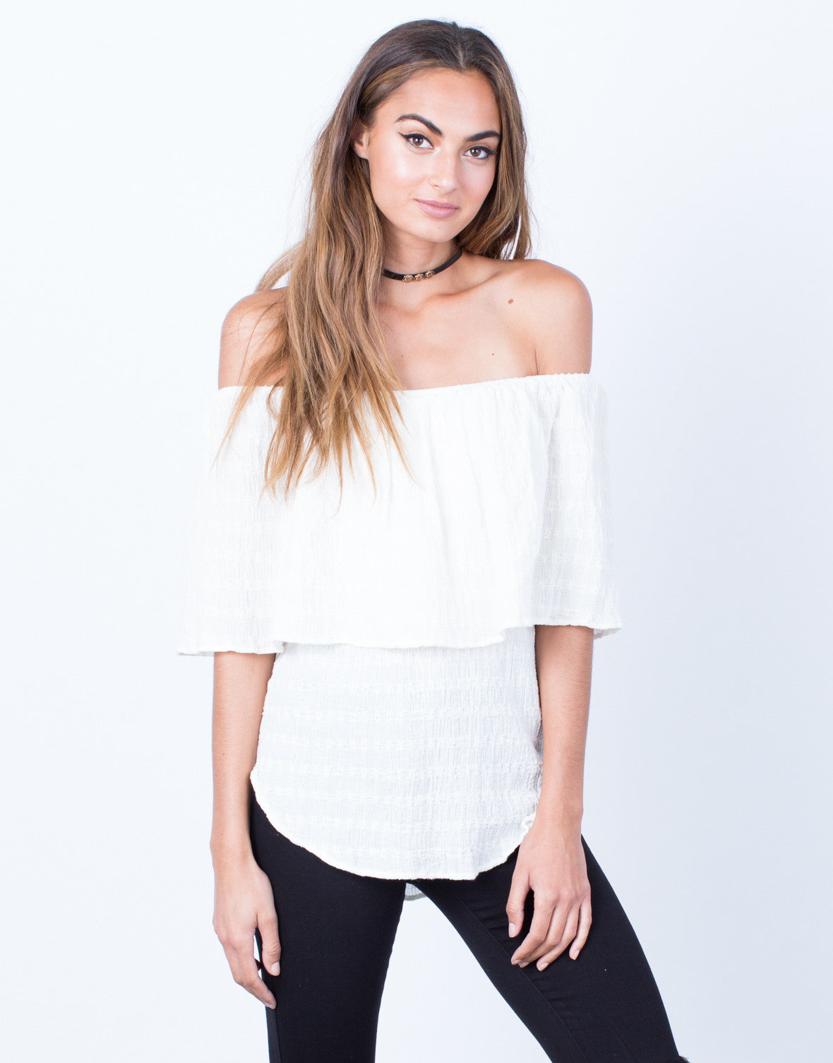 Front View of Layered Off-the-Shoulder Top