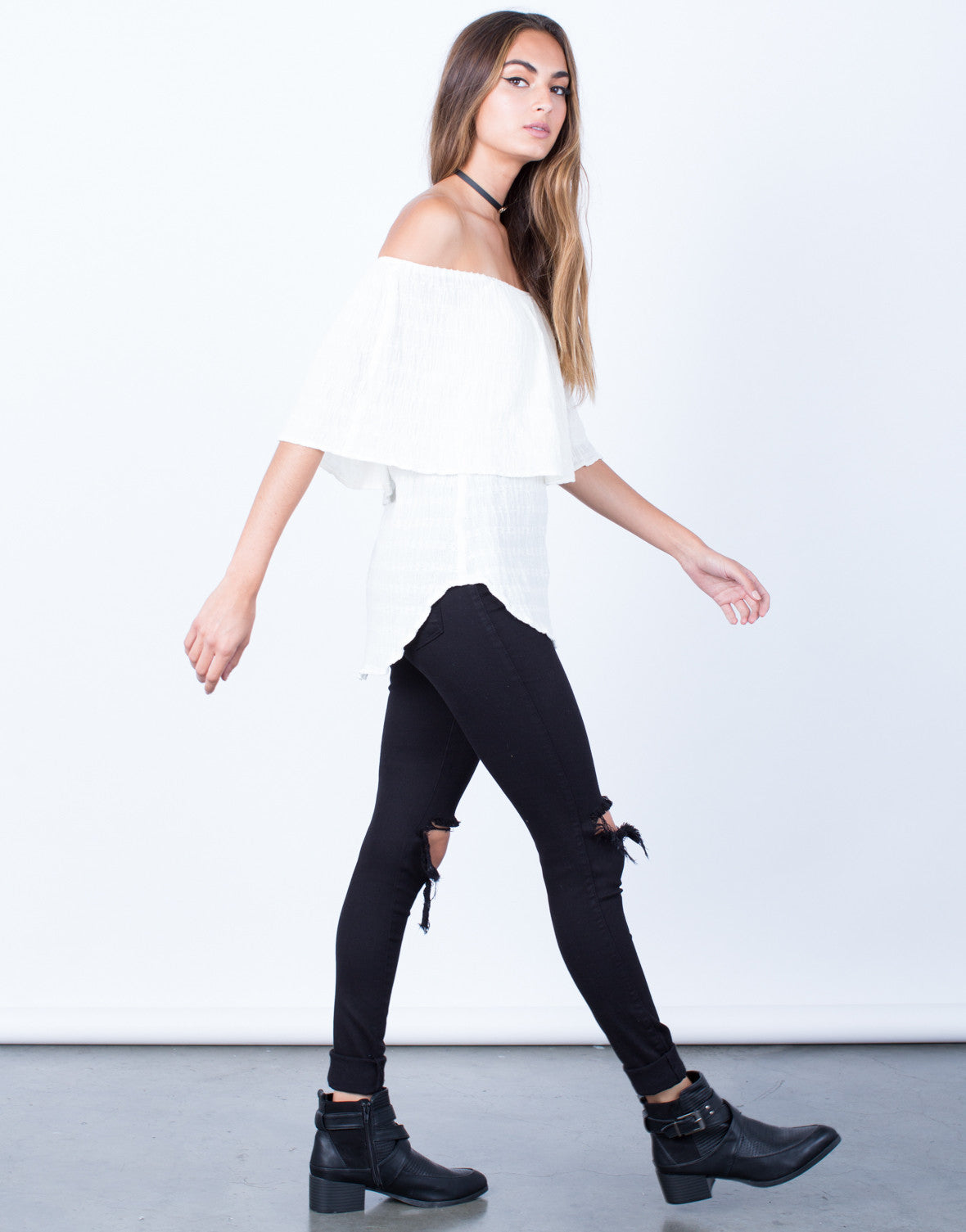 Side View of Layered Off-the-Shoulder Top