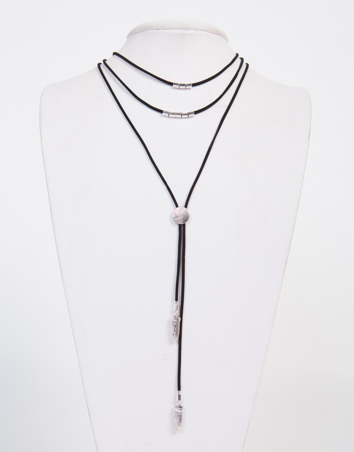 Layered Silver Charms Necklace