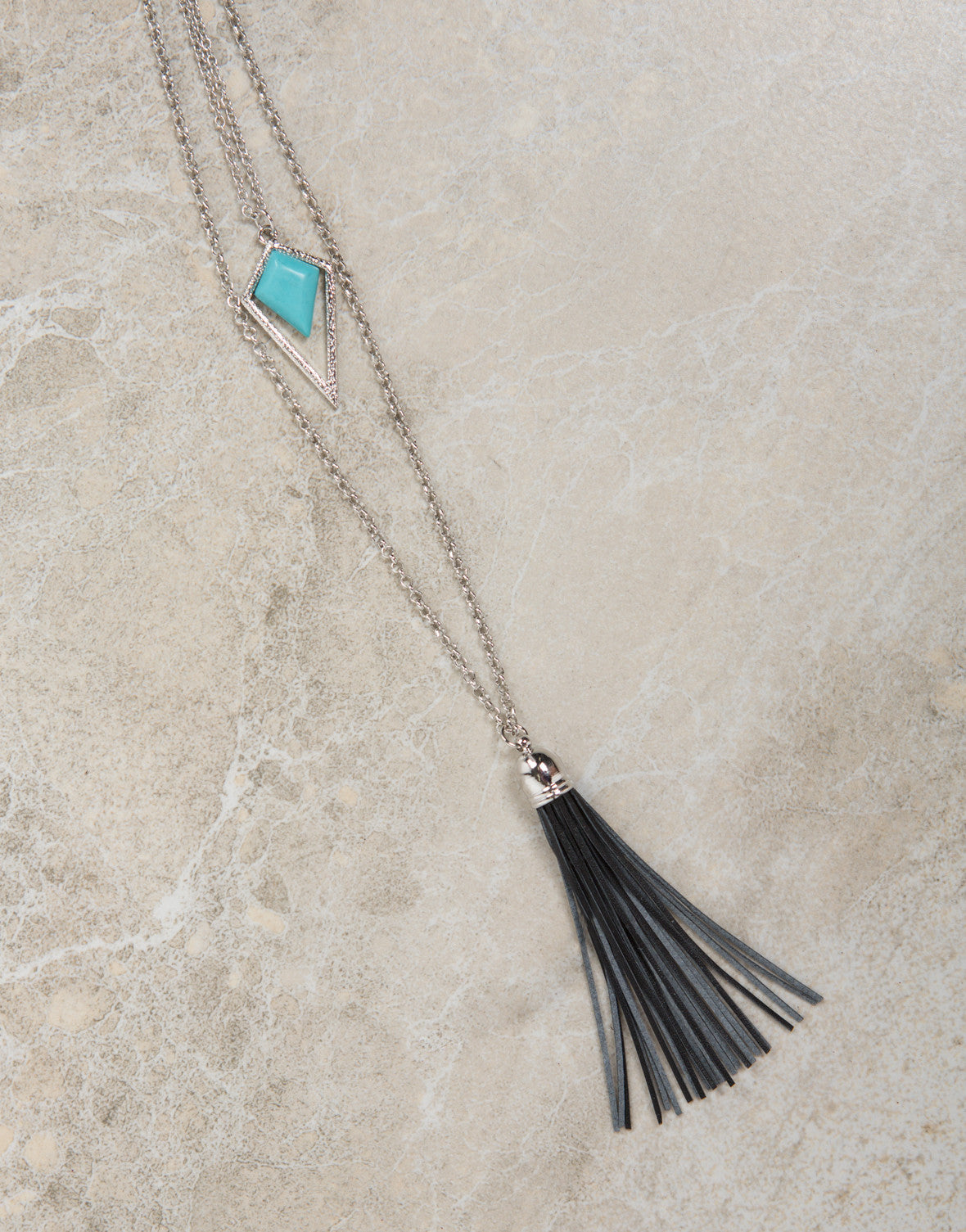 Layered Tassel Stone Necklace