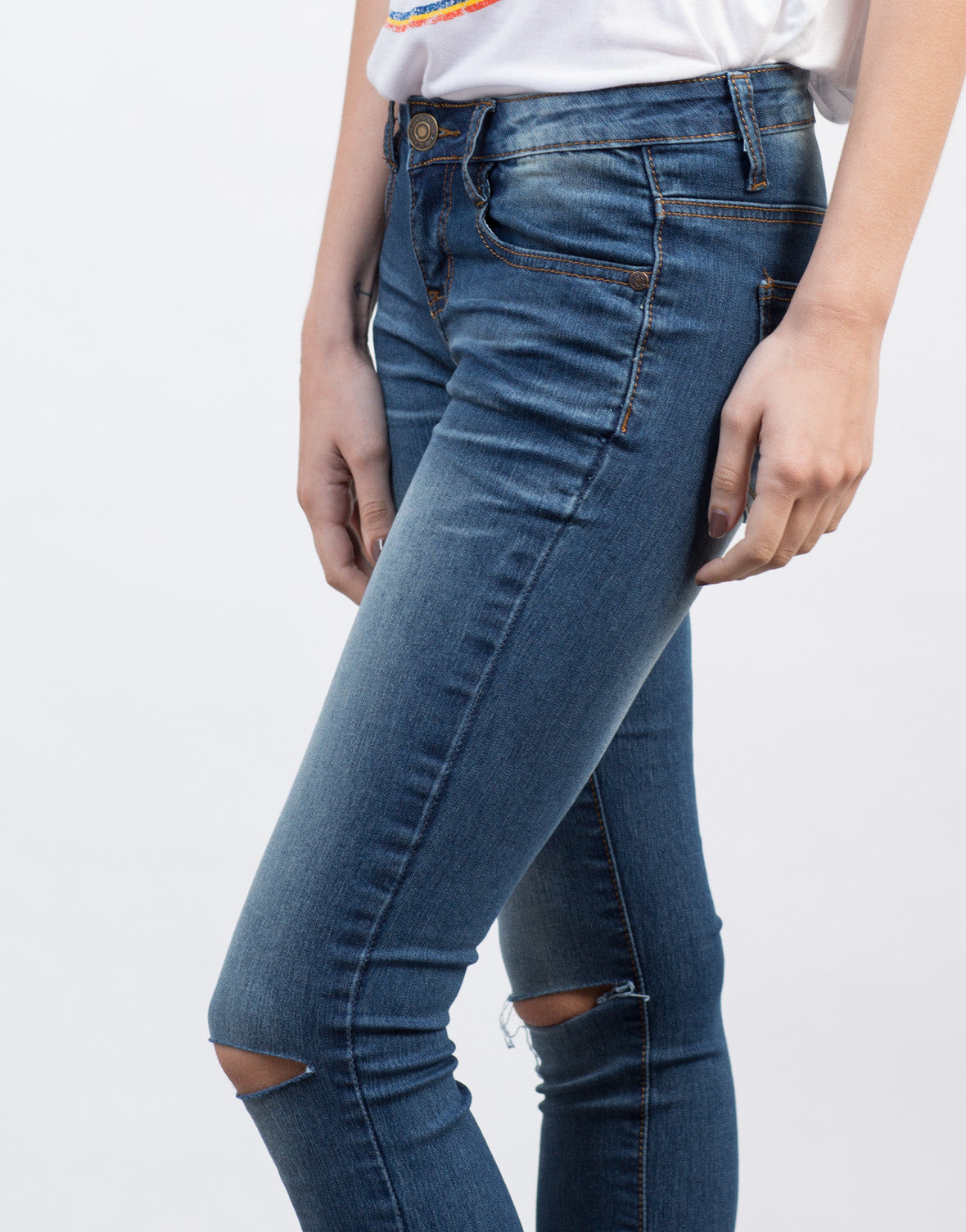 Detail of Lazer Cut Skinny Jeans
