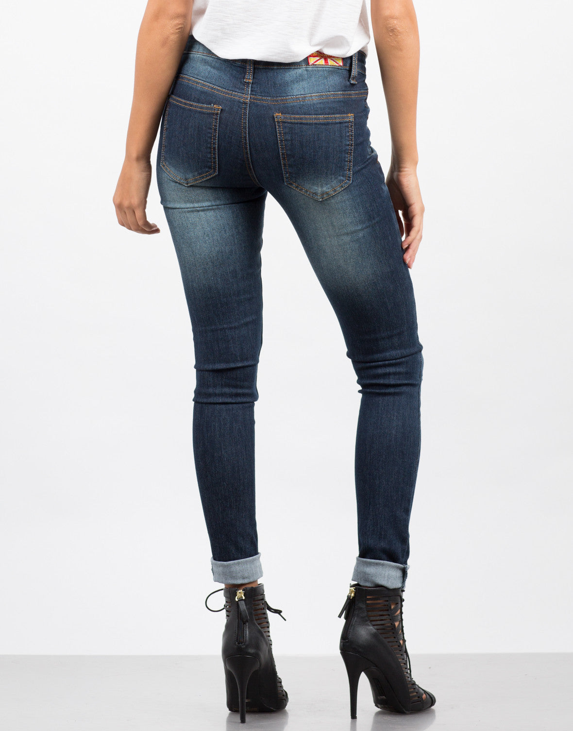Back View of Lazer Cut Denim Skinny Jeans