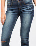 Detail of Lazer Cut Denim Skinny Jeans