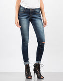 Front View of Lazer Cut Denim Skinny Jeans