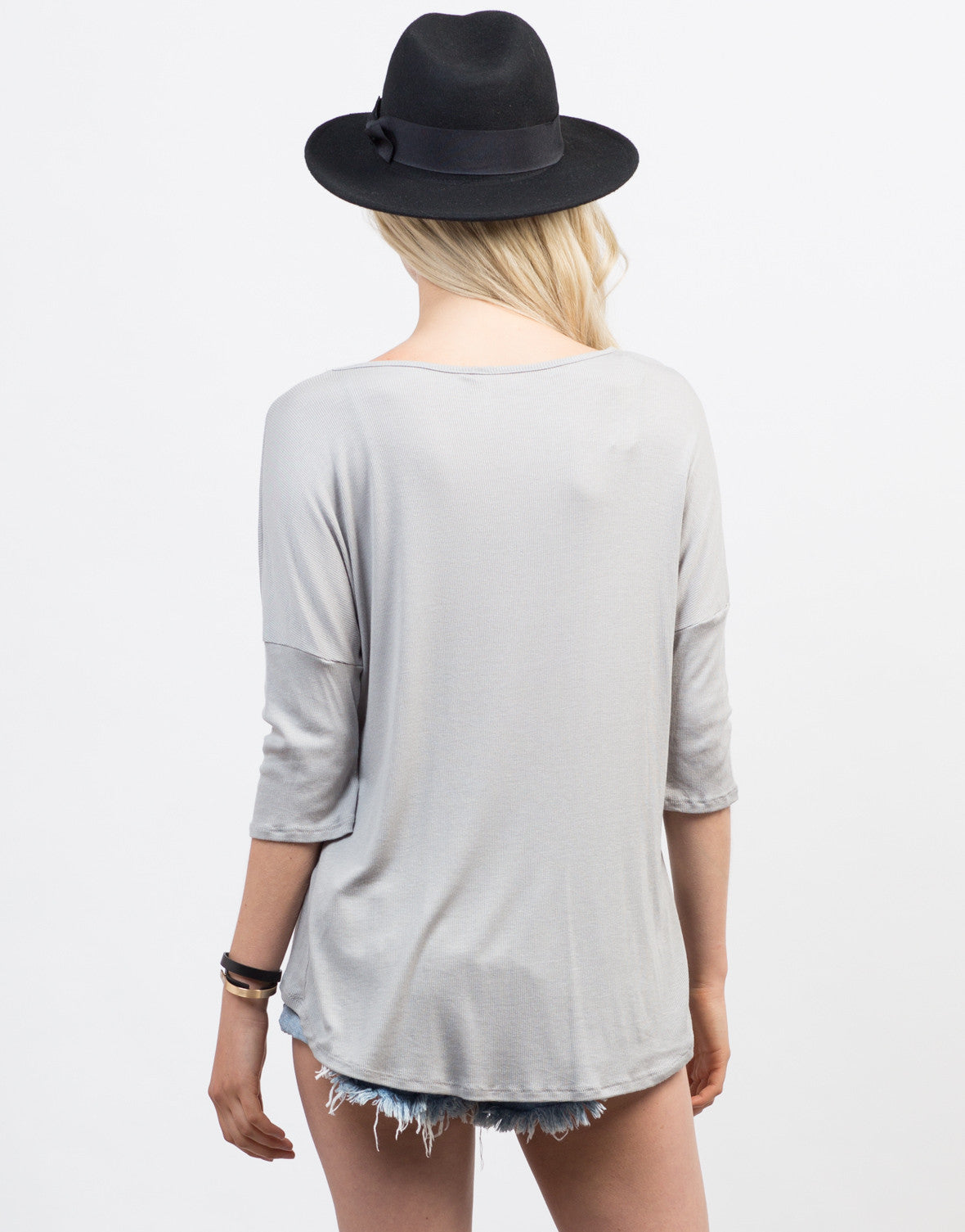 Back View of Lazy Sunday Henley Top