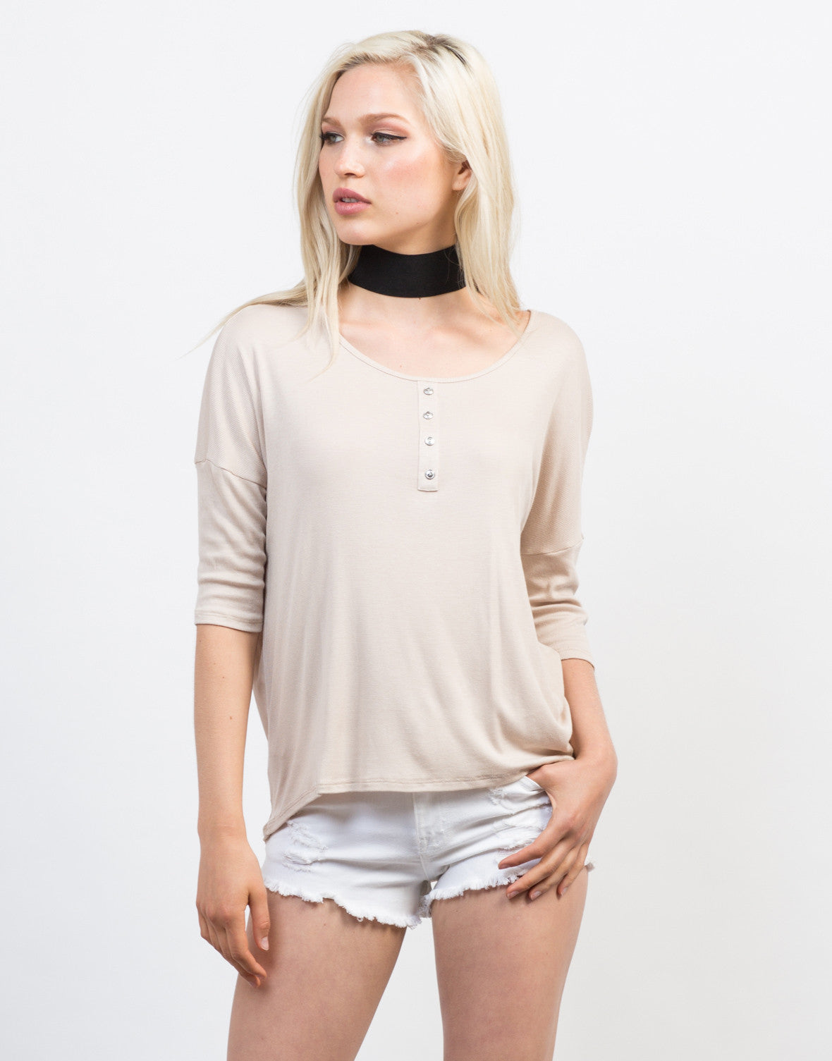 Front View of Lazy Sunday Henley Top