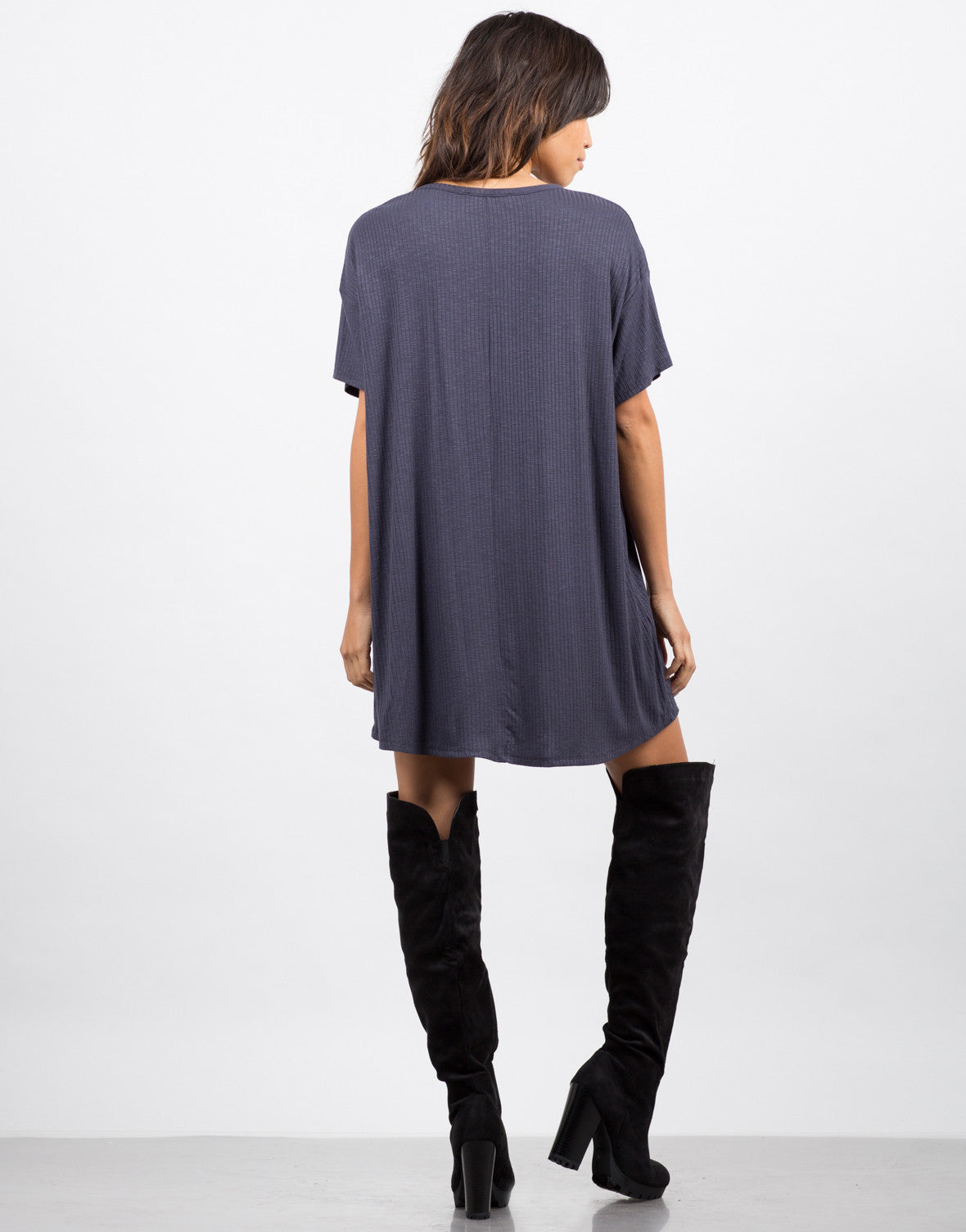 Back View of Lazy Sunday Ribbed Tee