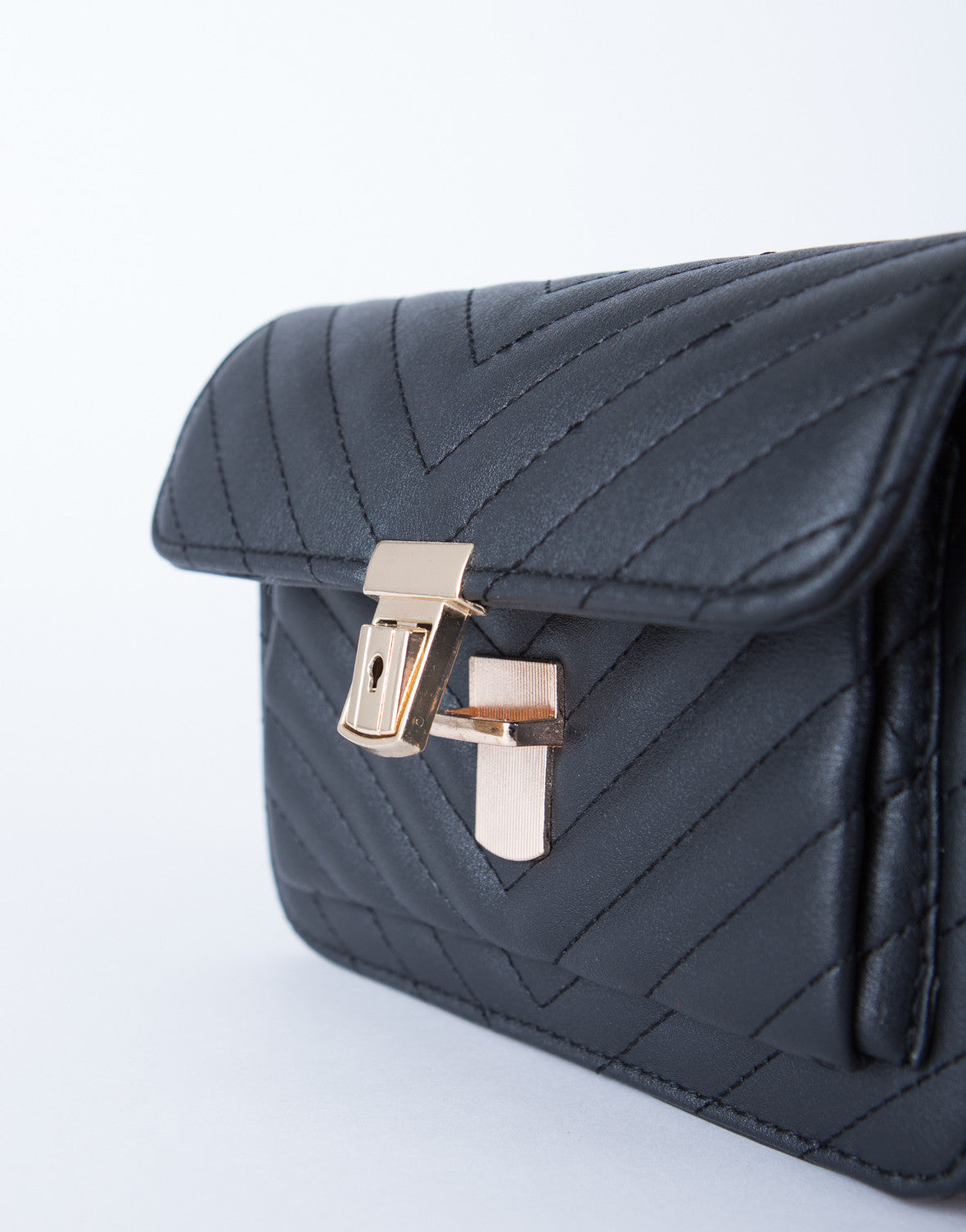 Leather Chevron Crossbody Purse