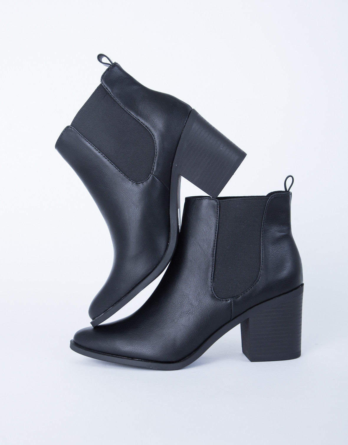 24014a5c7 Leather Chunky Heel Booties - Black Leather Booties - Chunky Block ...