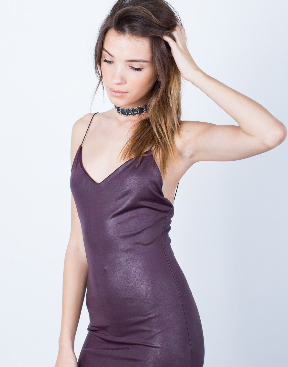 834b879873ad1 Leather Effect Midi Dress - Little Black Dress - Leather Cami Party ...
