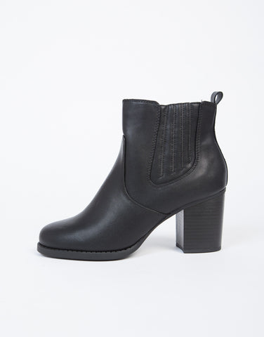 Leather Gore Ankle Boots