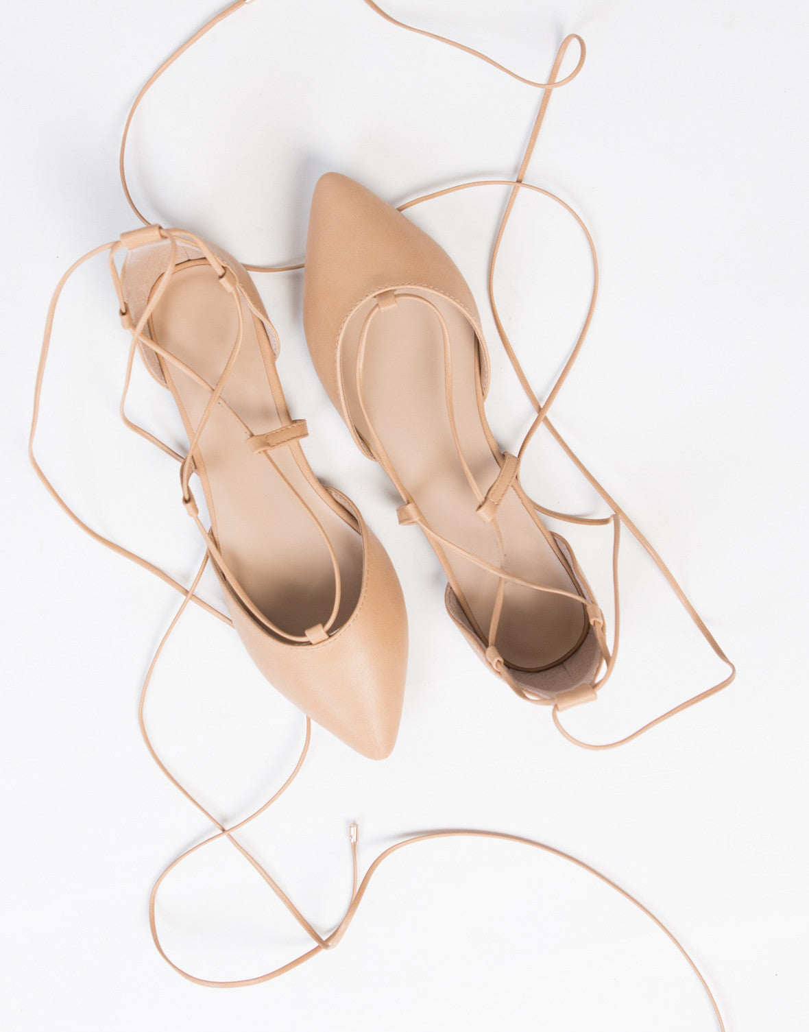 Leather Lace-Up Flats