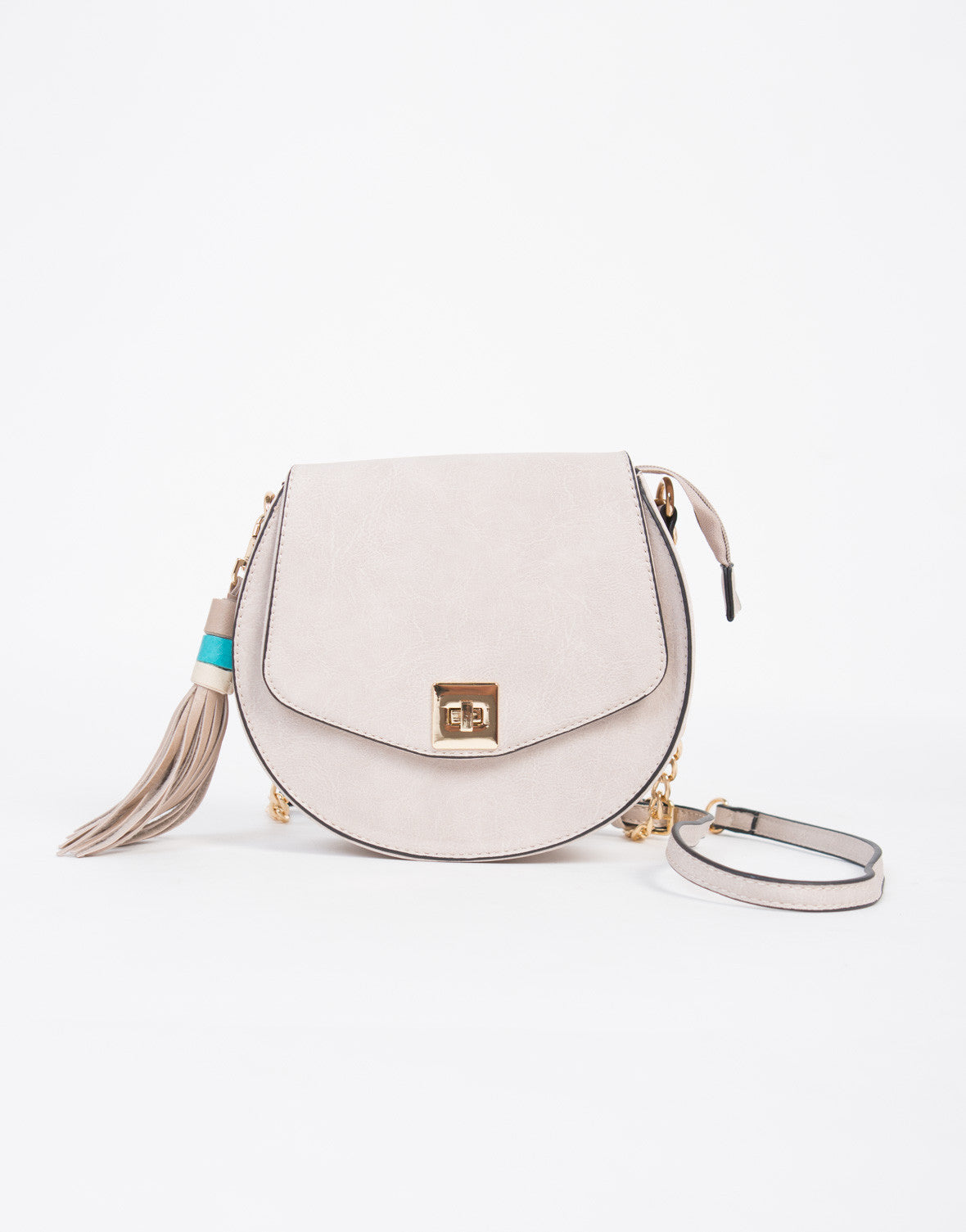 Leather Tassel Saddle Bag