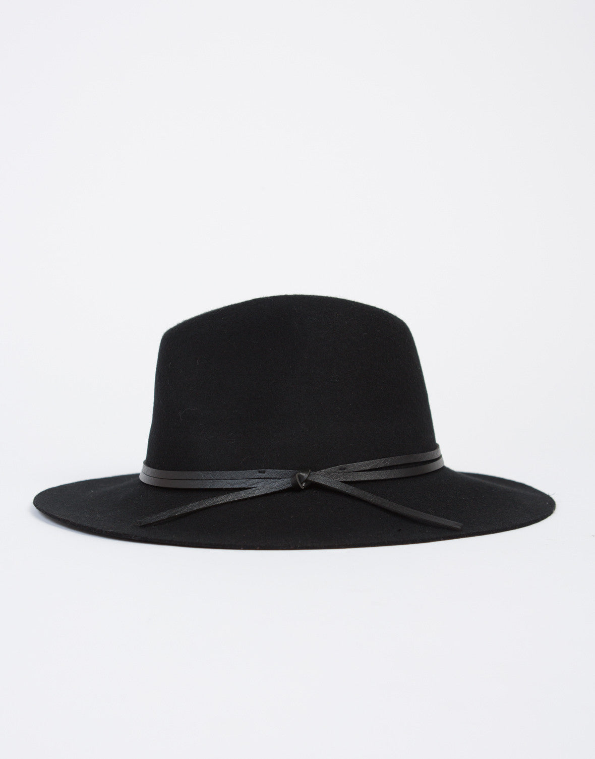 Leather Tie Wool Hat