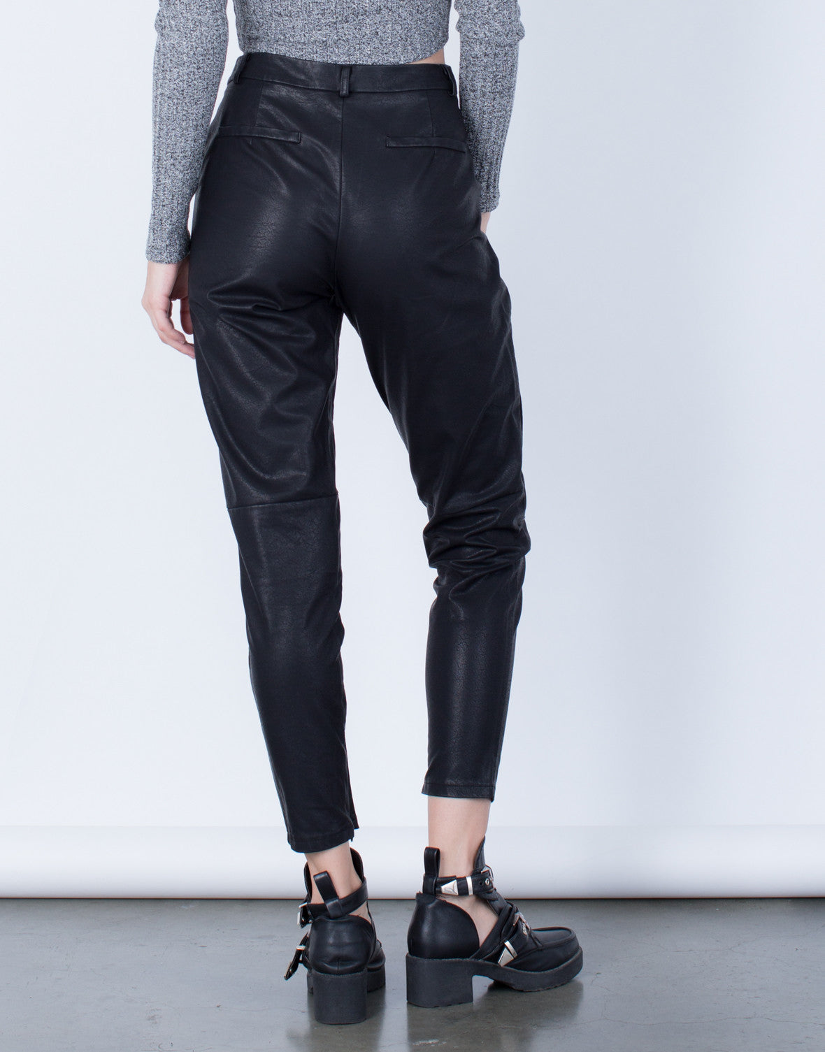 Back View of Leather Trouser Pants