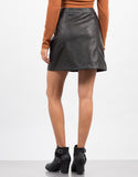 Back View of Leather Button Down Skirt