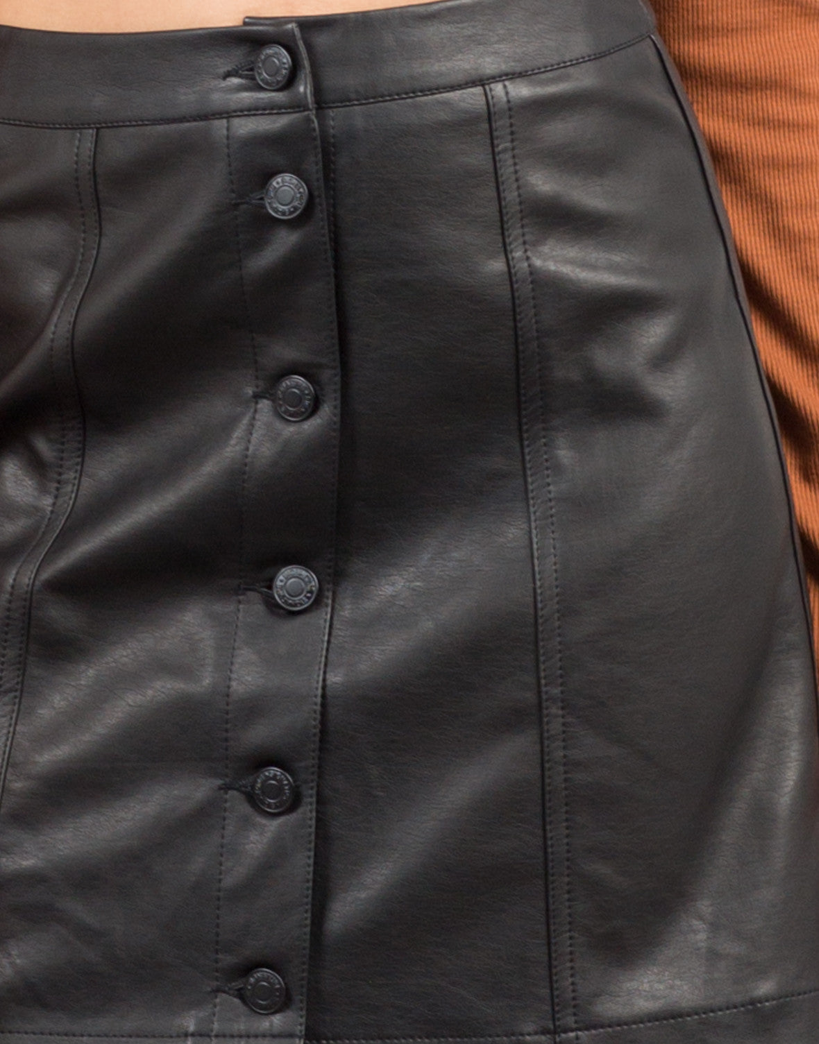 Detail of Leather Button Down Skirt