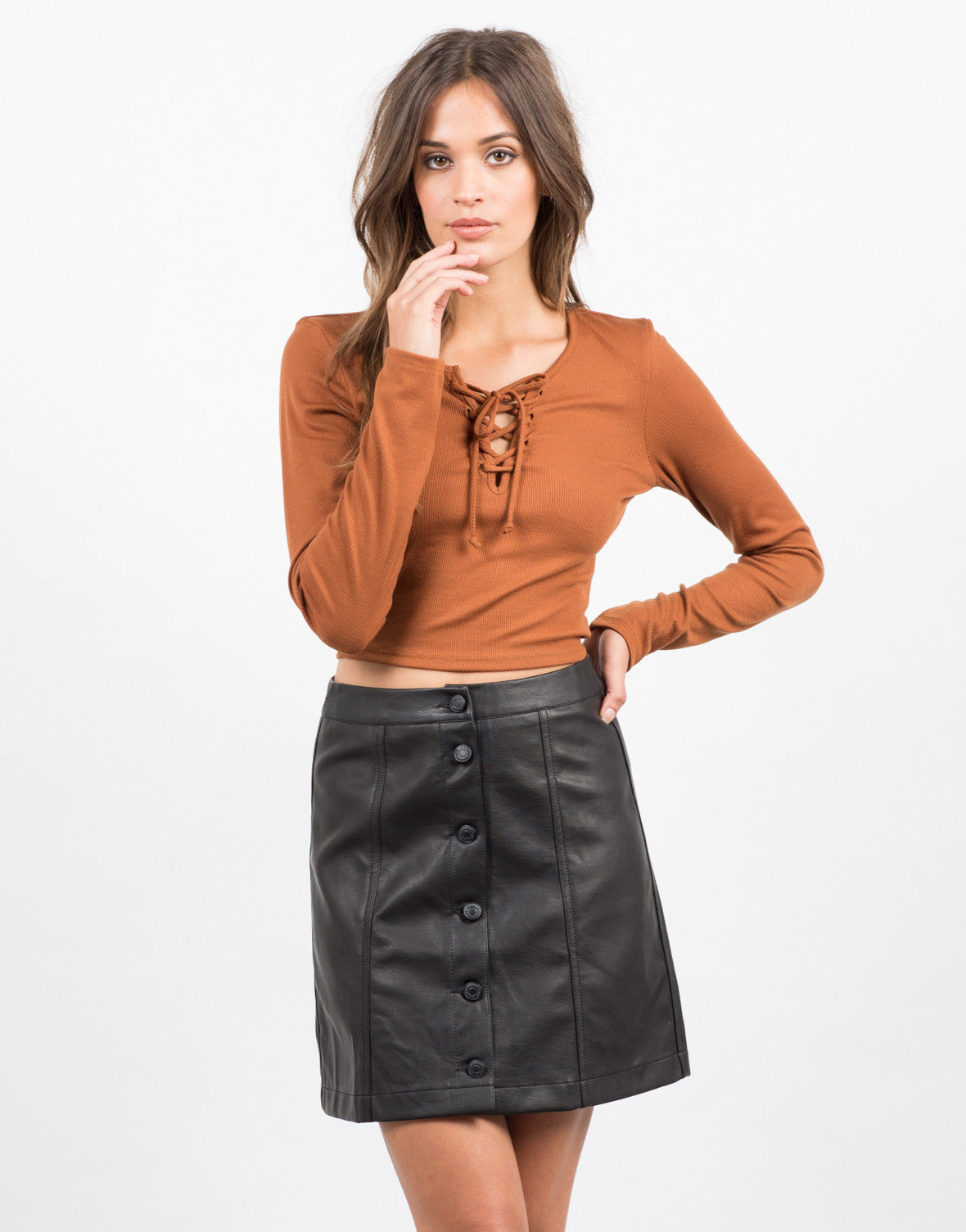 Front View of Leather Button Down Skirt