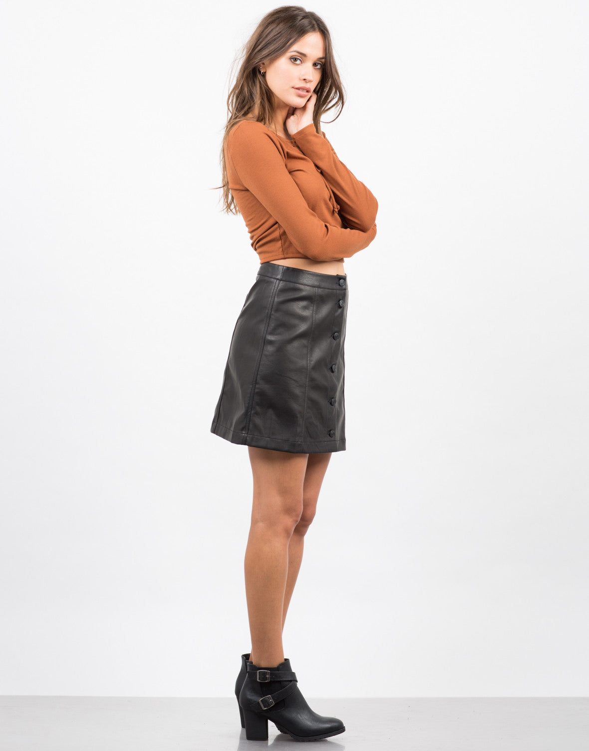 Leather Button Down Skirt - 2020AVE