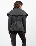 Back View of Leather Contrast Jacket