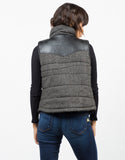 Back View of Leather Contrast Vest