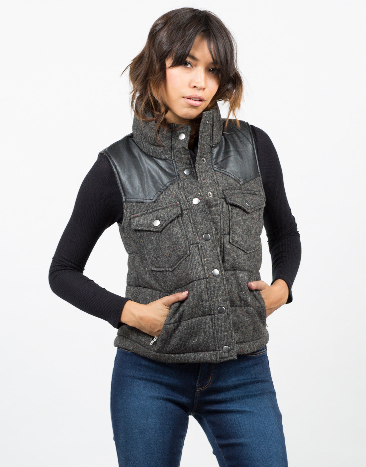 Front View of Leather Contrast Vest