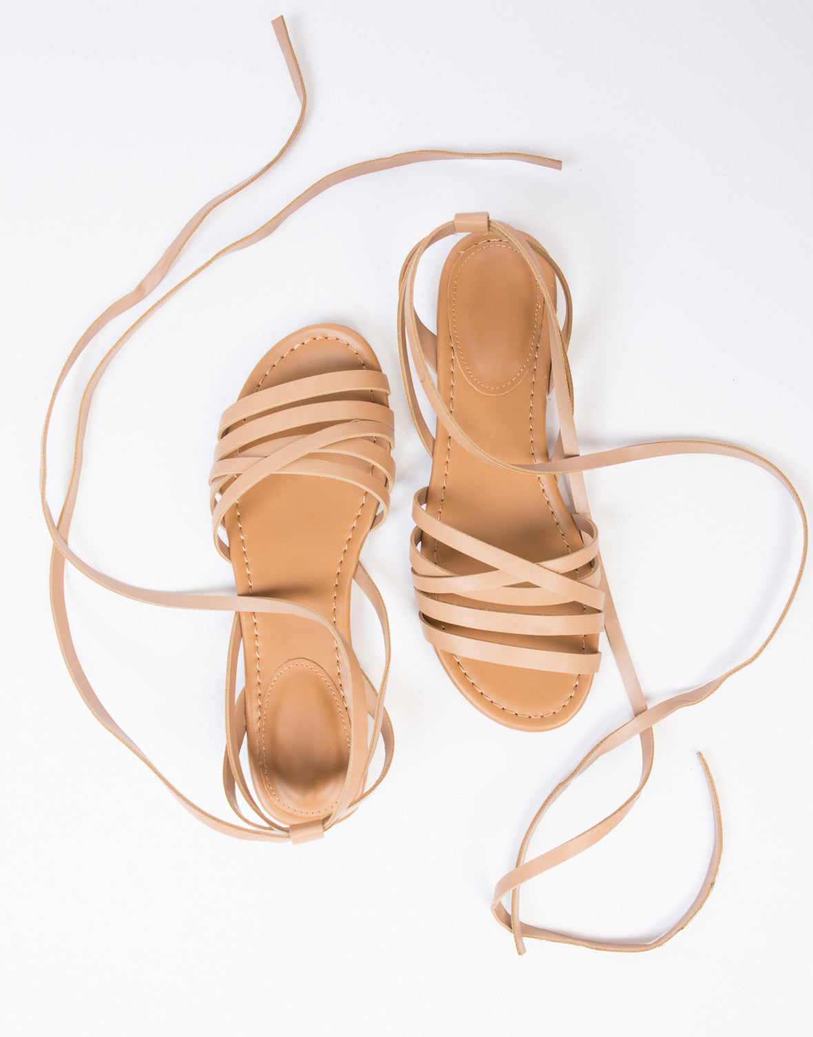 Leatherette Strappy Sandals - 2020AVE