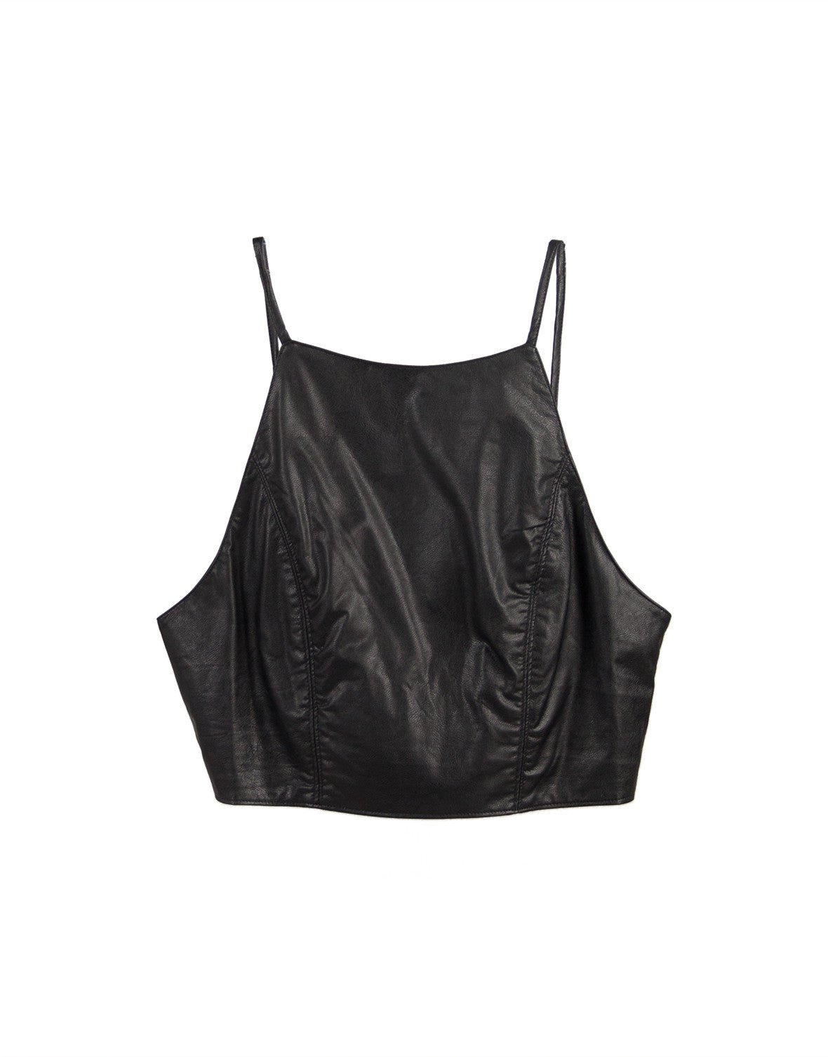 Leatherette Backless Cropped Top