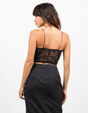 Back View of Leatherette Lace Back Crop Top